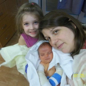 Liam With His Mommy and Big Sis
